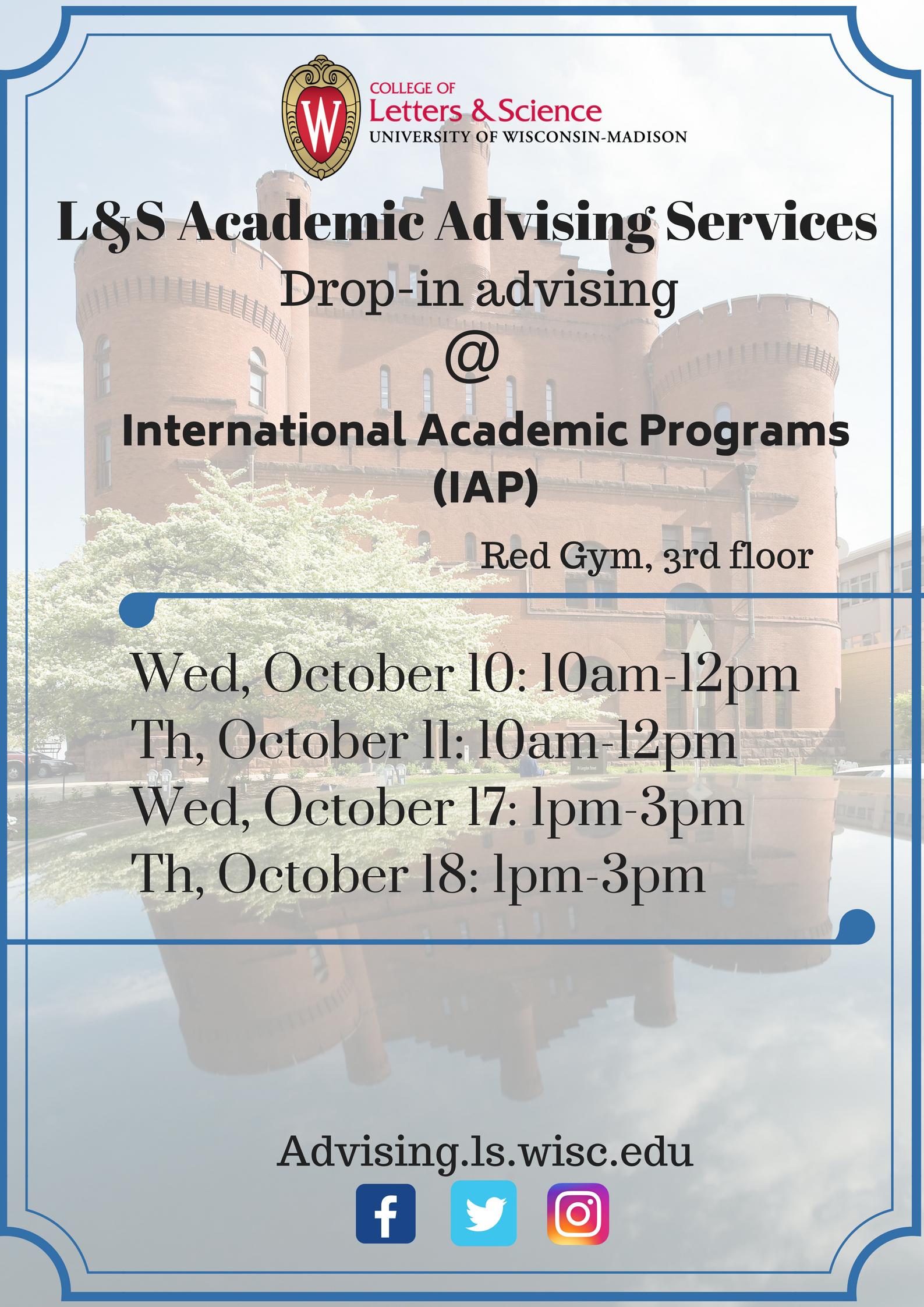 L&S AAS Drop-ins at IAP poster (October 10, 10am-12pm; October 11, 10am-12pm; October 17, 1pm-3pm; October 18, 1pm-3pm